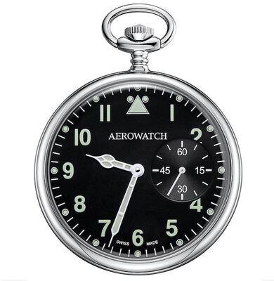 Aerowatch Taschenuhr Lépine Mechanical Silbrig / Schwarz