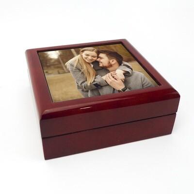 Caixa joias madeira + Azulejo 10,8x10,8cm