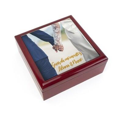 Caixa joias madeira + Azulejo 15,2x15,2 cm