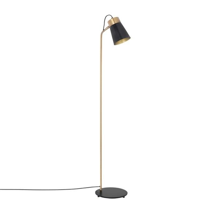 Staande lamp Carter zwrt/goud 147cm