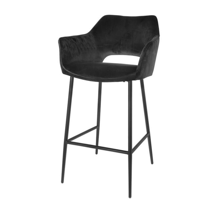 Set of 2 fashionable bar stools Eve black 98 cm