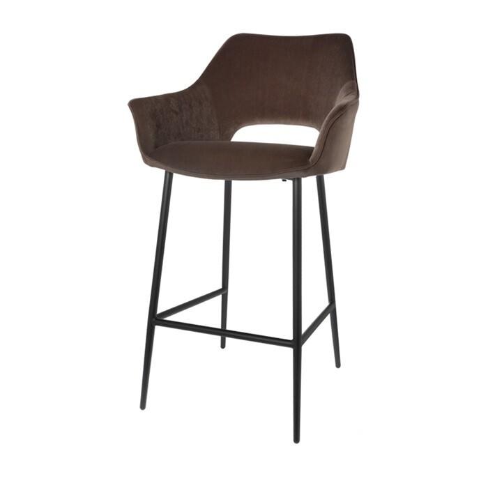 Set of 2 fashionable bar stools Eve taupe 98 cm