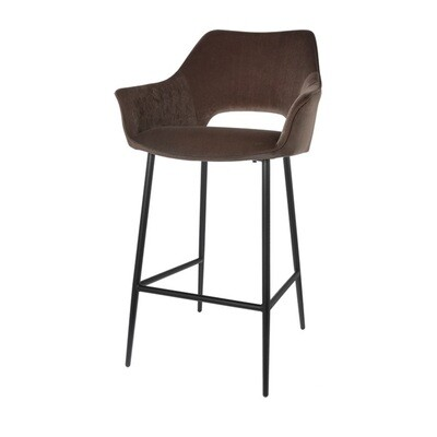 Set of 2 fashionable bar stools Eve taupe 98 cm