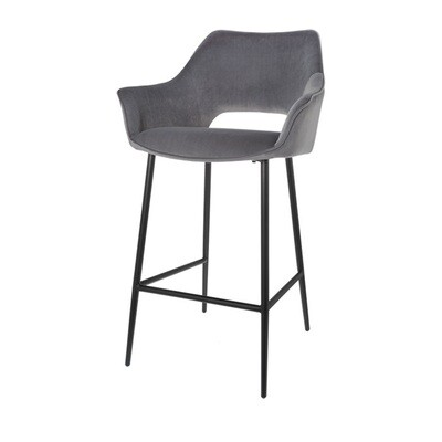 Set of 2 fashionable bar stools Eve grey 98 cm