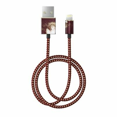 Golden Burgundy Marble Fashion Cable 1m Lightning