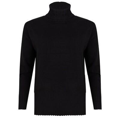 Black sweater high col