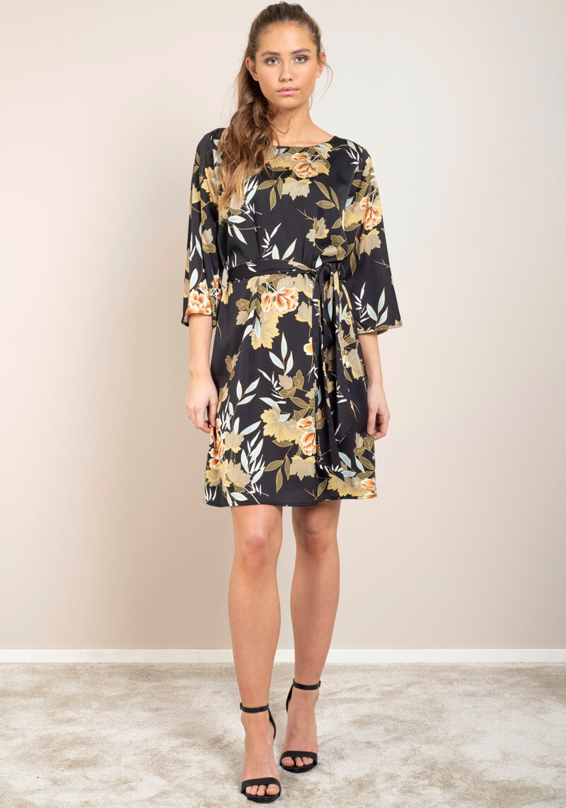 Katie Dress Black Cherrie Print