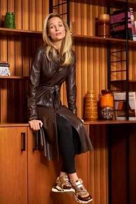 Dark brown midi dress PU-leather
