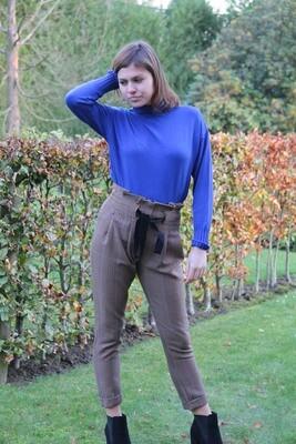 Sweater high col cobalt blue