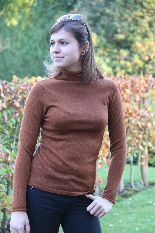 Sweater raw edge lurex Cinnamon