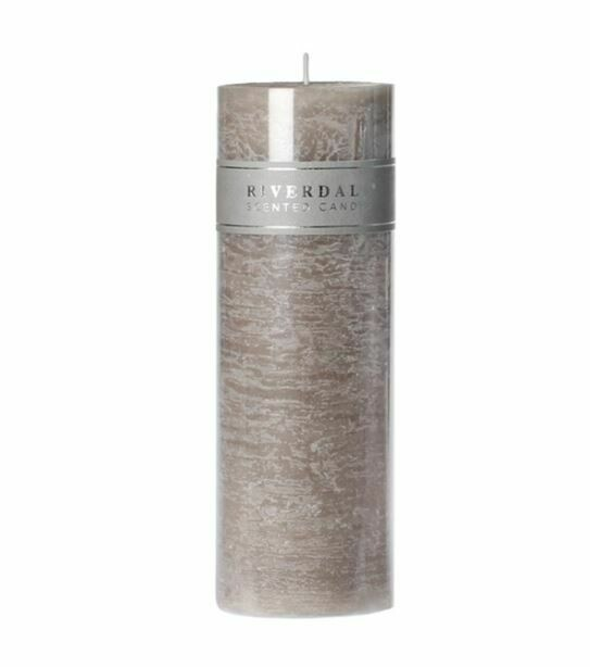 Scented candle Pillar grey 7,5x23cm