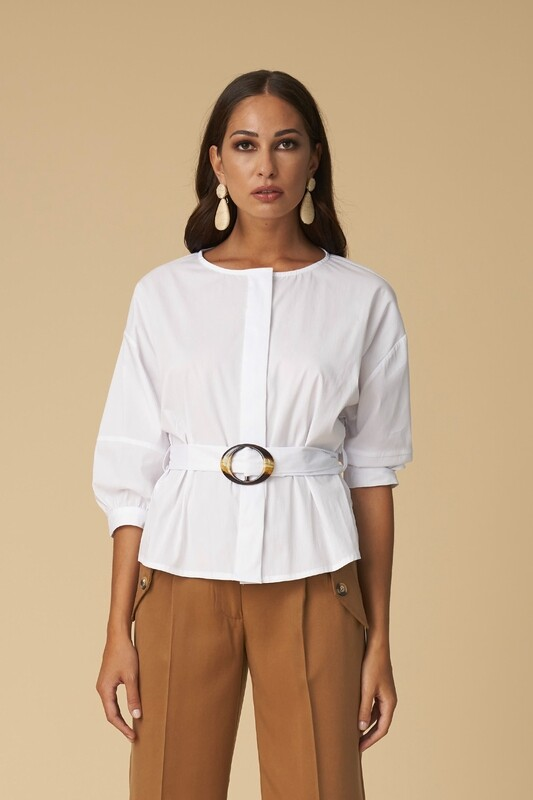 White shirt with belt