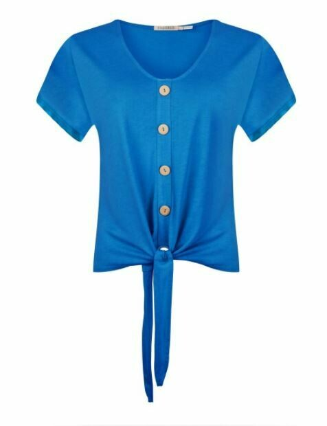 T-shirt buttoned front knot