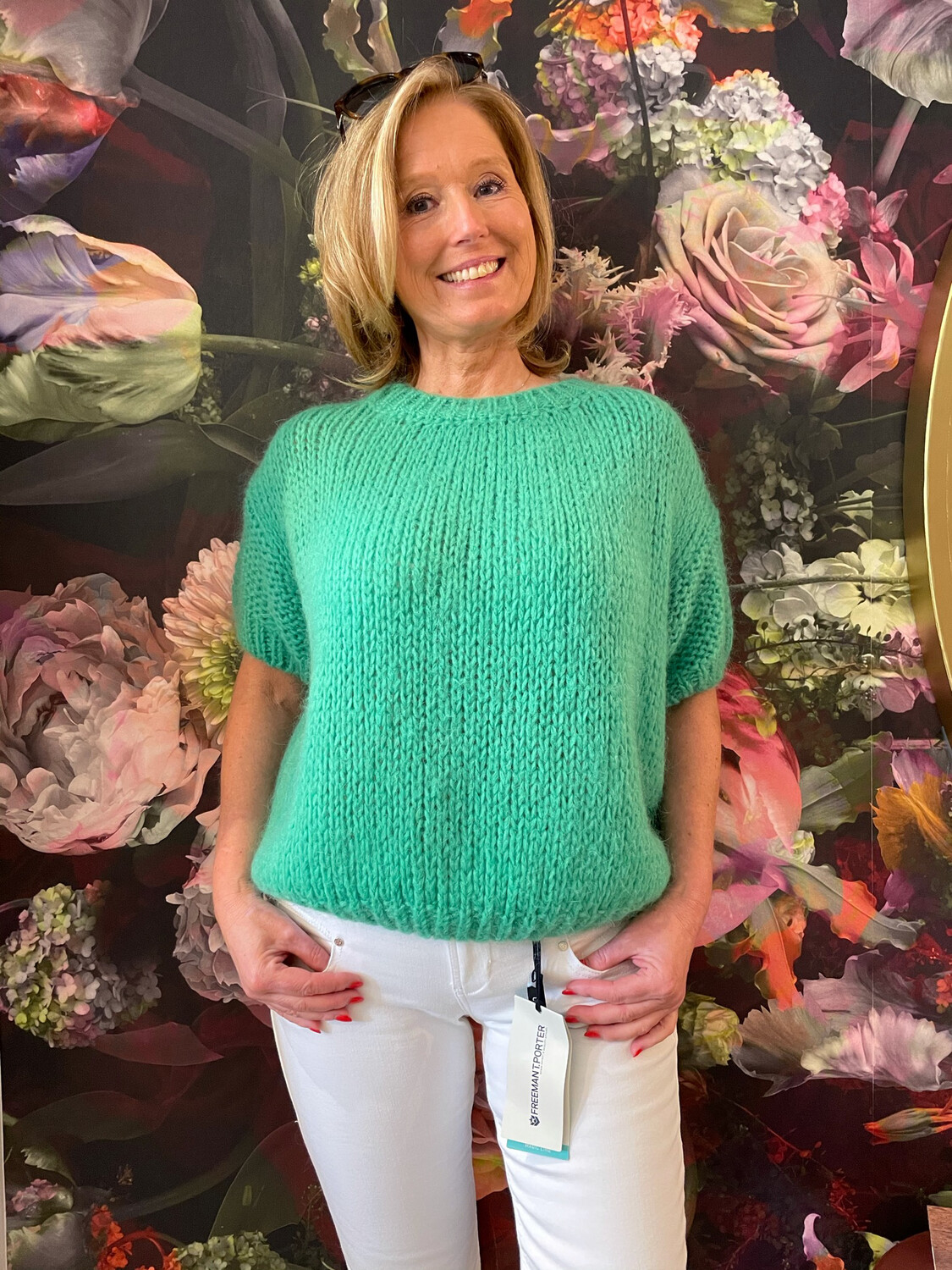 Knitted pull with short sleeves - Green