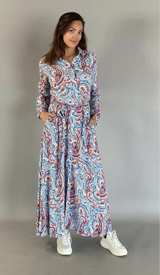 Maxi Dress Paisley Denim-Red print