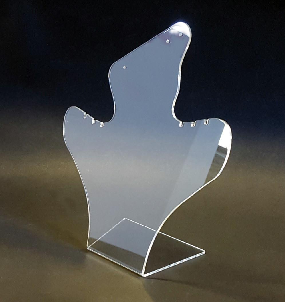 Espositore per orecchini e collane in plexiglass trasparente (2 pz.)