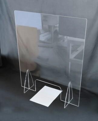 Protezione barriera schermo parasputi parafiato in plexiglass per farmacie, casse, negozi aiuto contro contagio corona virus ecc.