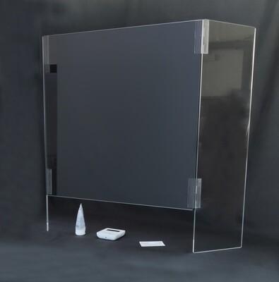 Protezione barriera in plexiglass schermo parasputi parafiato per farmacie, casse, negozi aiuto contro contagio corona virus ecc. Pieghevole.