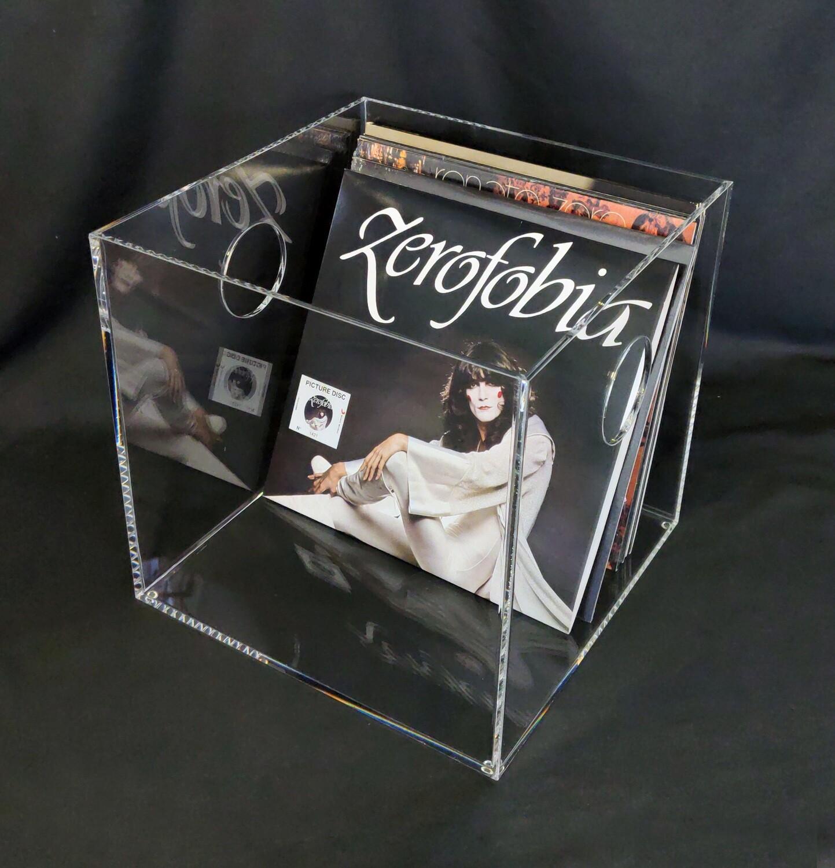 Contenitore portadischi vinili in plexiglass trasparente a cubo