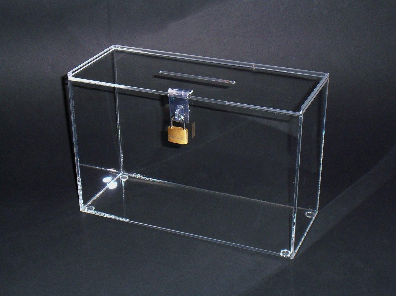 URNA IN PLEXIGLASS / box / scatola raccolta fondi cm. 12x30xh. 20 - set 2 pezzi
