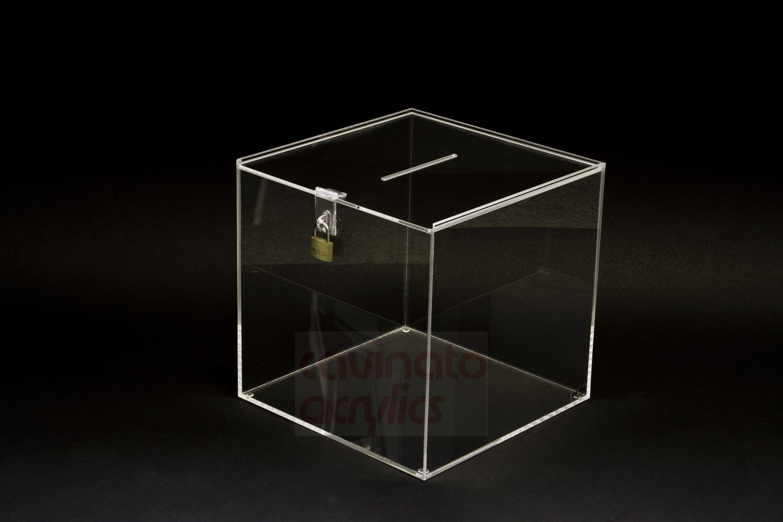 URNA / BOX IN PLEXIGLASS / salvadanaio / scatola CM. 15x15x15 Trasparente