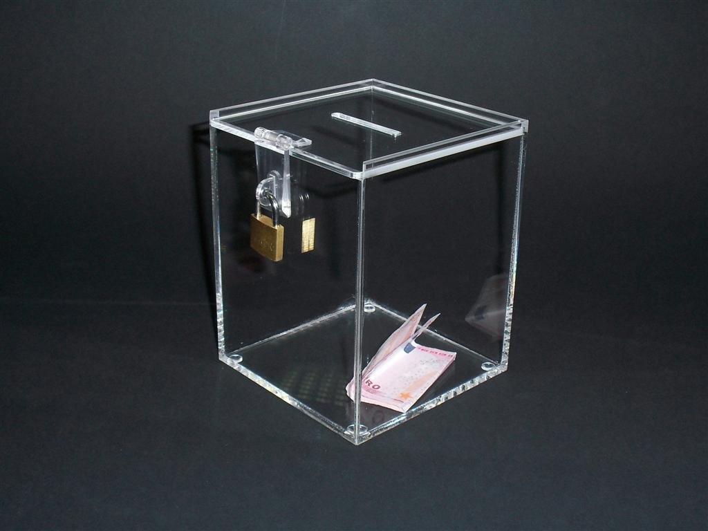 URNA IN PLEXIGLASS / box / scatola raccolta fondi cm. 12x12xh. 15 - SET 2 PEZZI