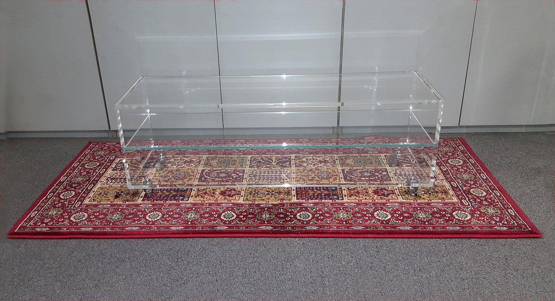 Mobiletto per TV con ruote in plexiglass trasparente