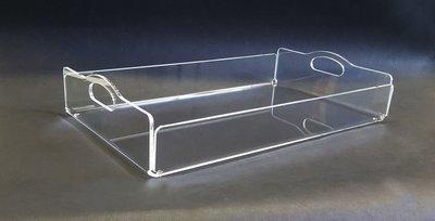 Vassoio in plexiglass trasparente con manici cm. 49,5x30xH. 10