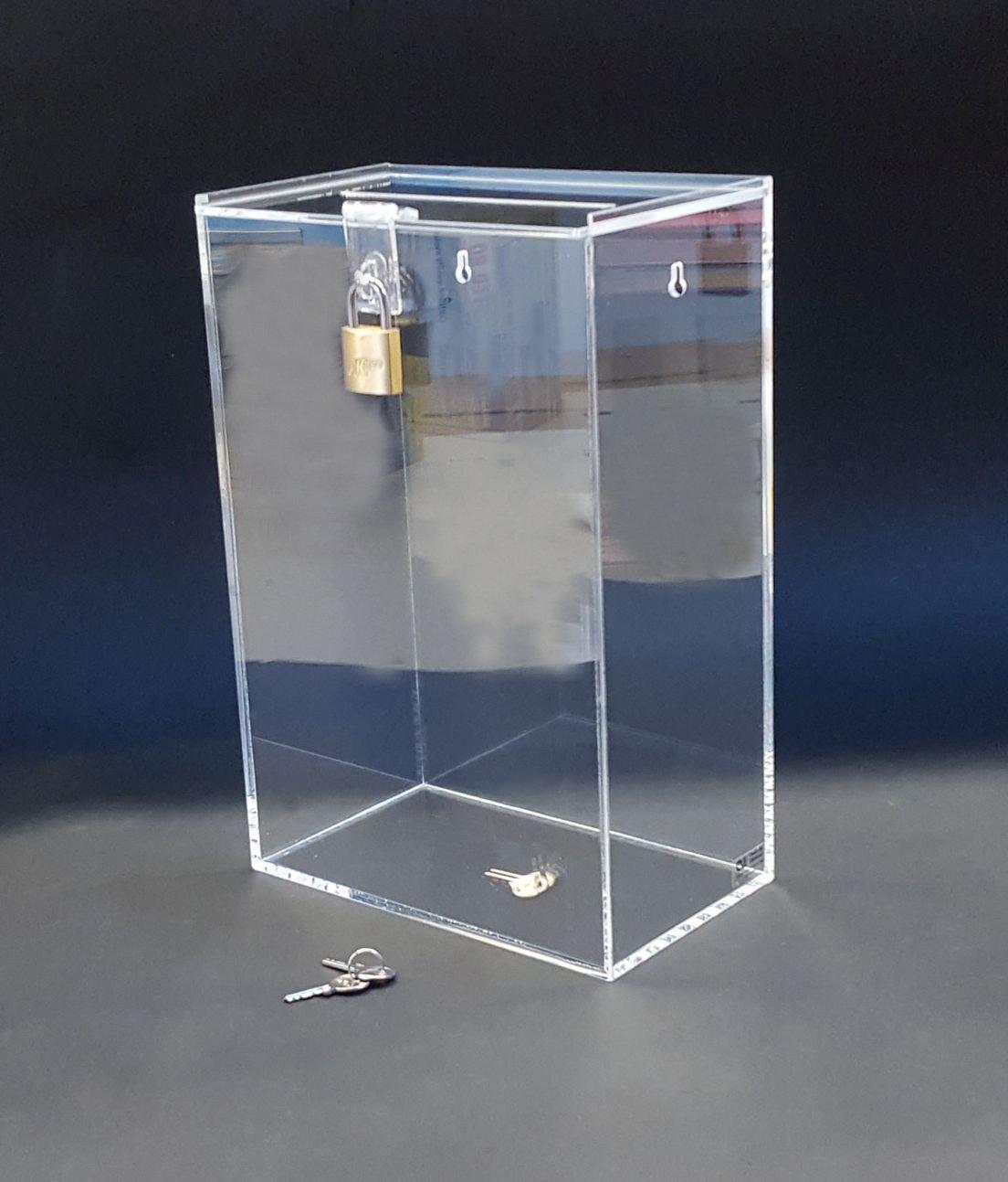 URNA IN PLEXIGLASS / box / scatola raccolta fondi cm. 20x12xh. 30 - set 2 pezzi