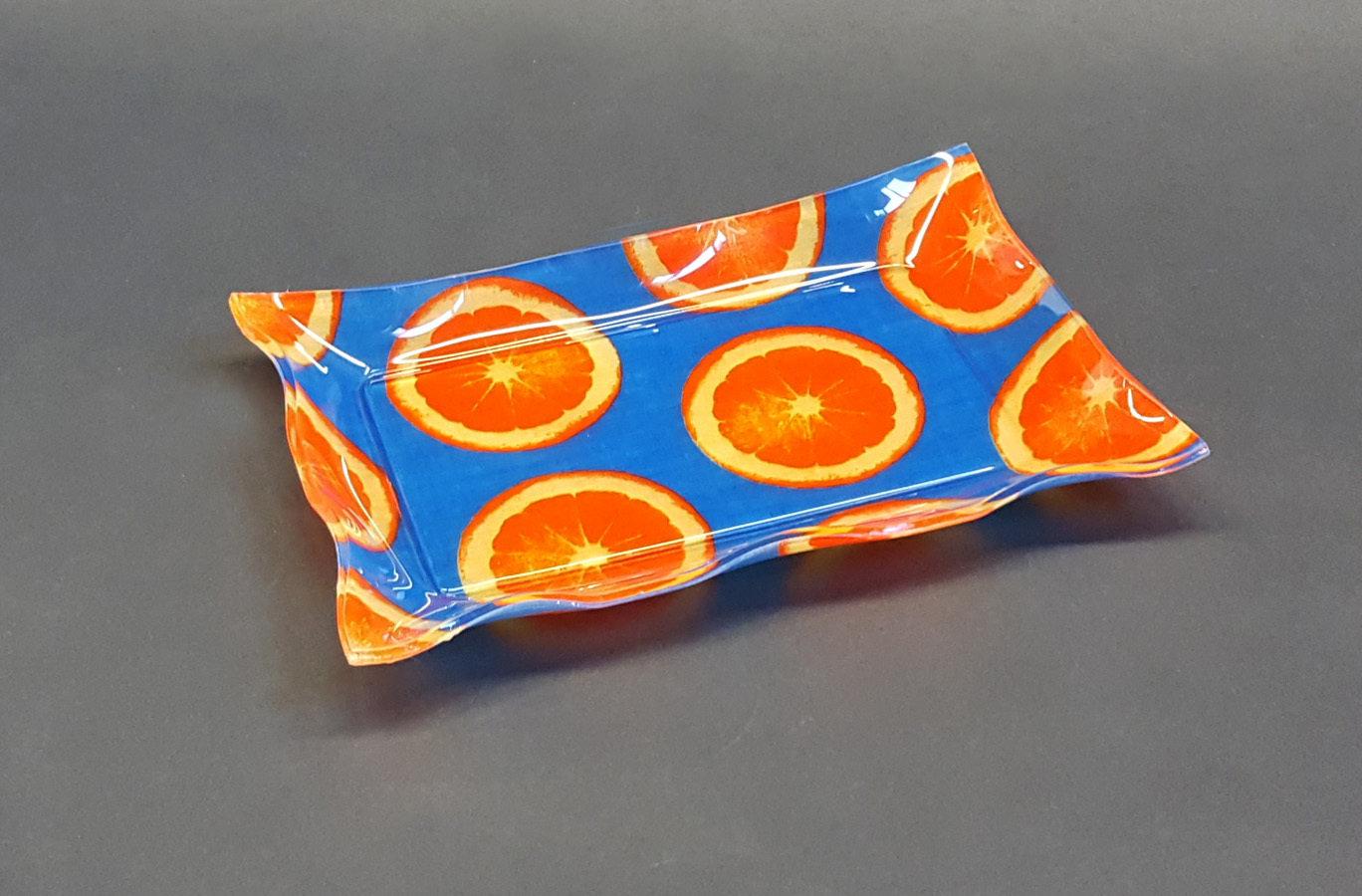 "Vuotatasche - vassoietto in plexiglass con tessuto ""Blue orange"""