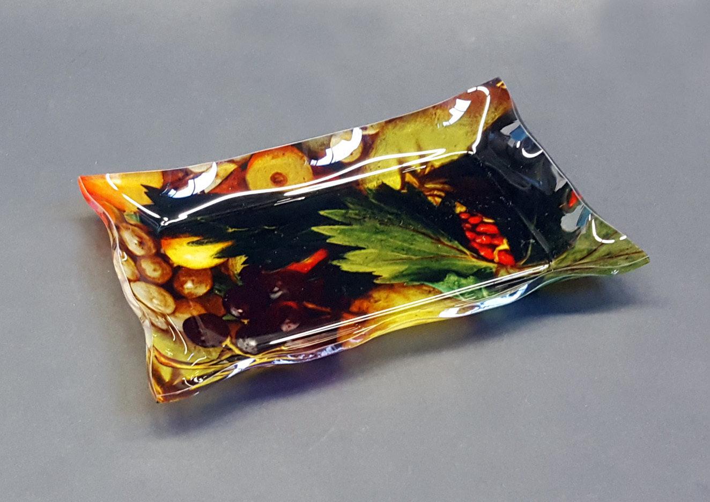 "Vuotatasche - vassoietto in plexiglass con tessuto ""Frutta"""