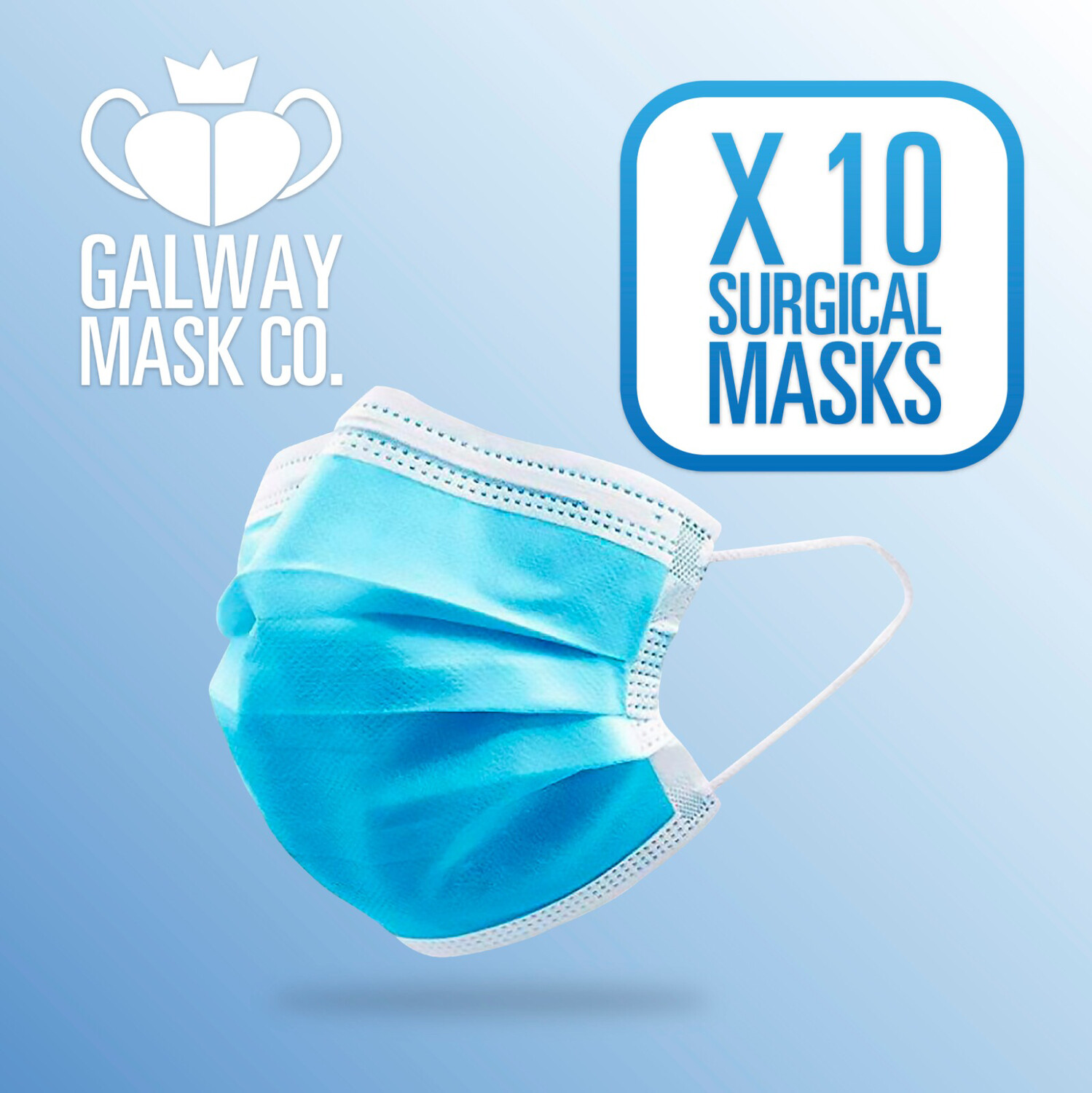 10 X Face Mask with Loops.                       €.70 Each