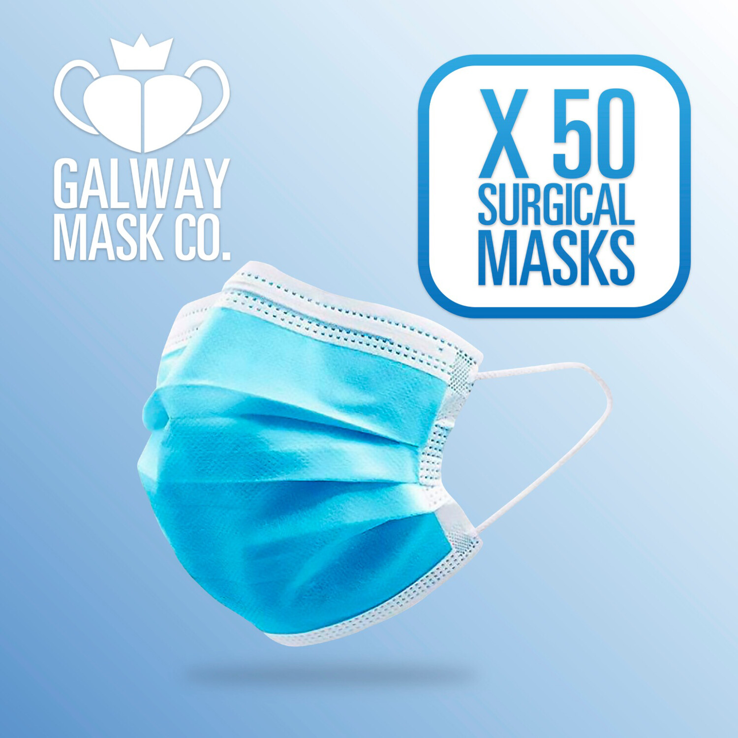 50 X 3 Ply Face Mask with Loops.                €0.40 Each