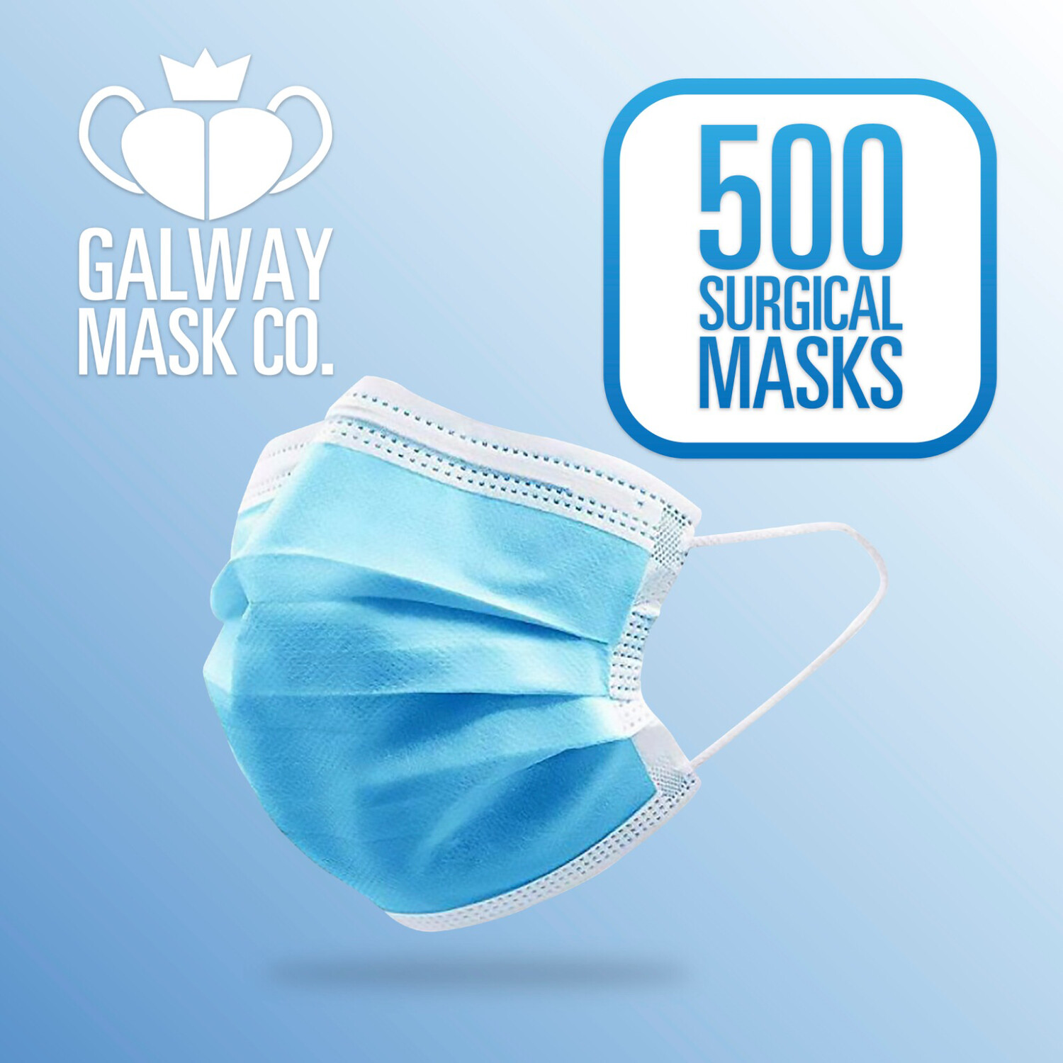500 X 3 Ply Face Mask with Loops.                        €0.28 Each