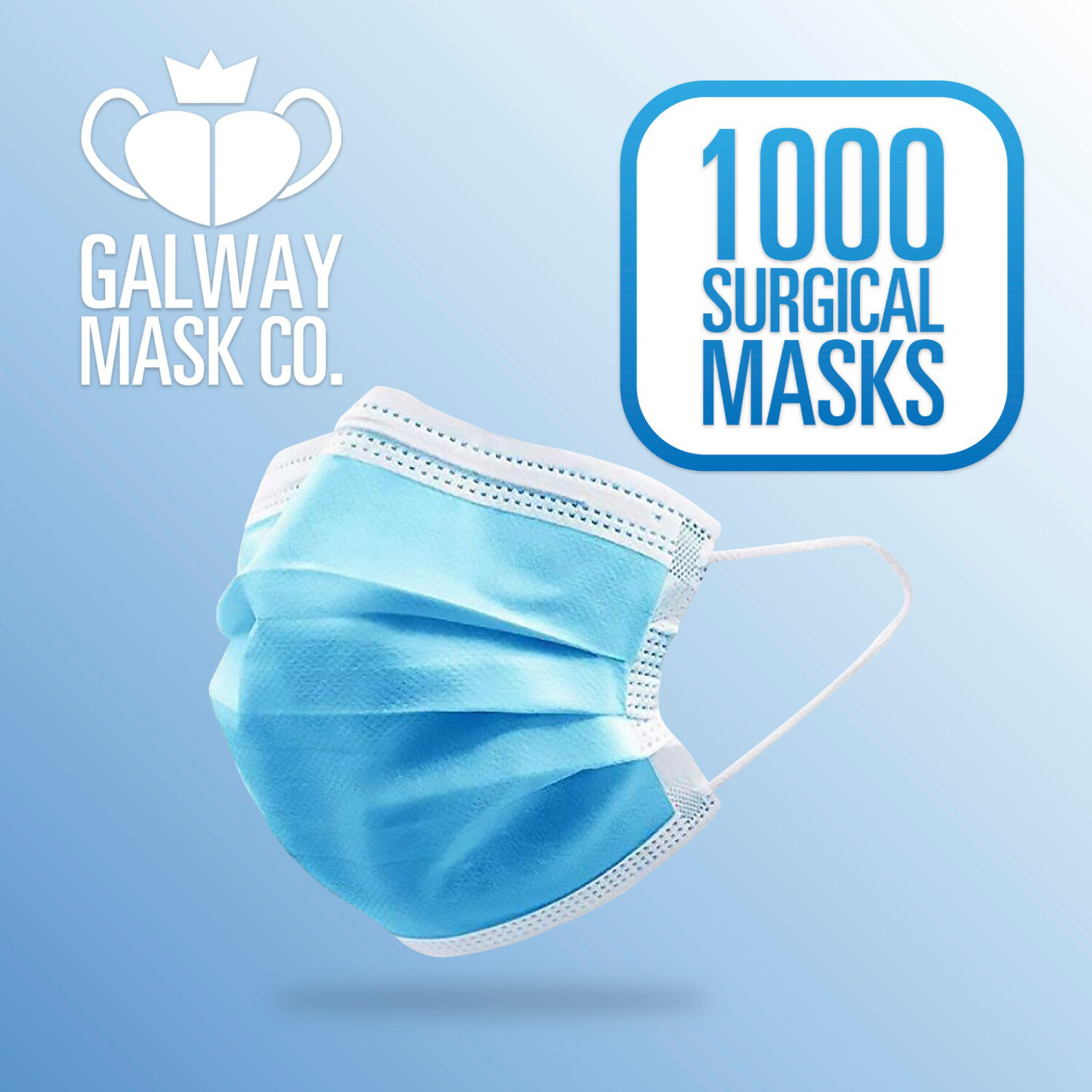 1,000 X 3 Ply Face Mask with Loops.                        €0.25 Each