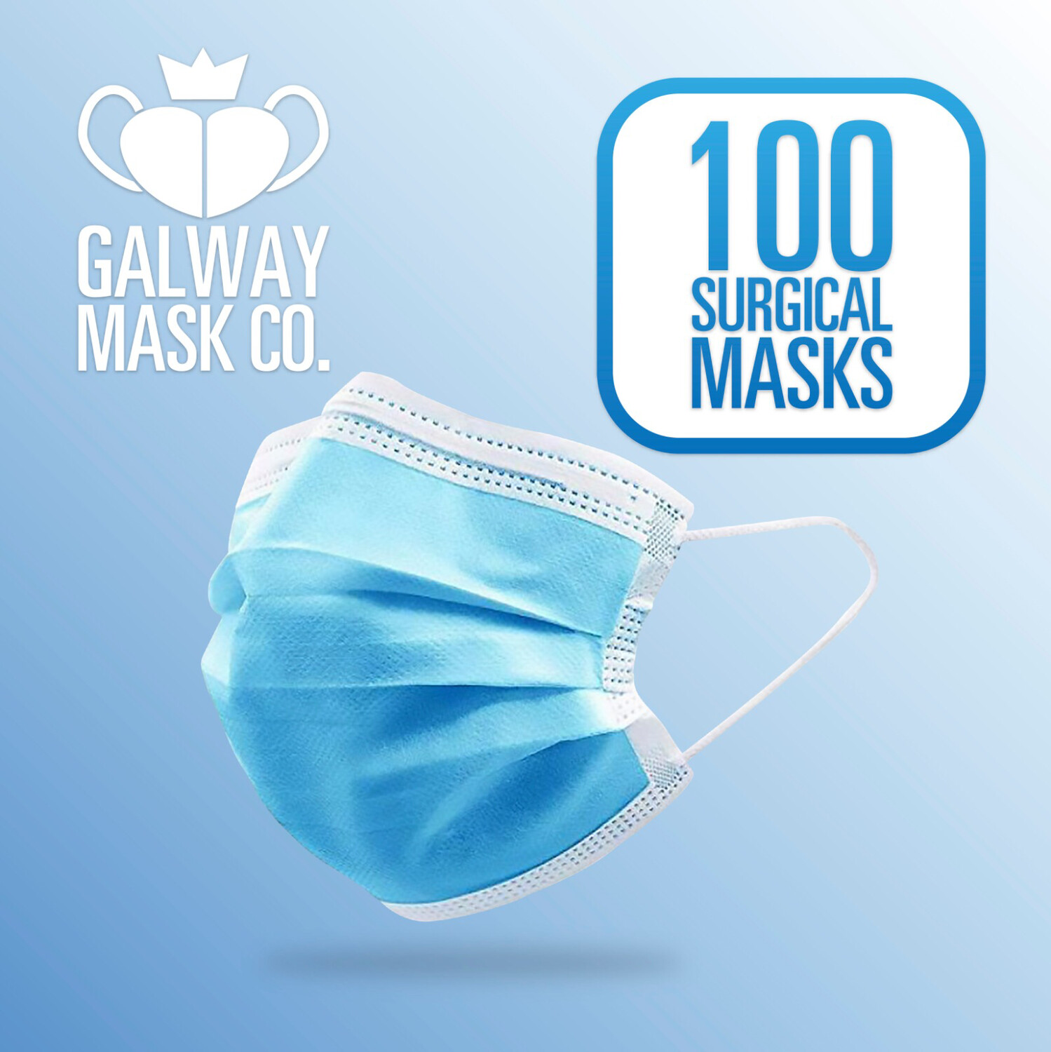 100 X Ply Face Mask with Loops.             €0.32 Each