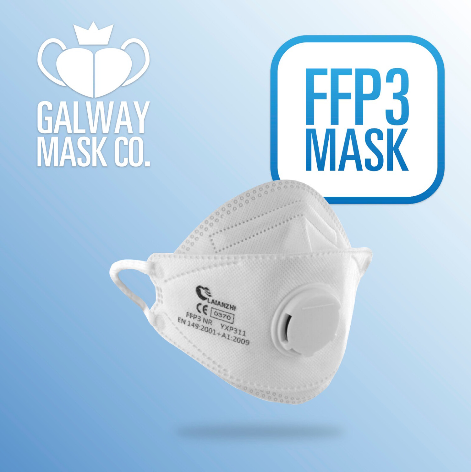 20 x FFP3 Filtering Particulate Respirator With Valve.        €4 each