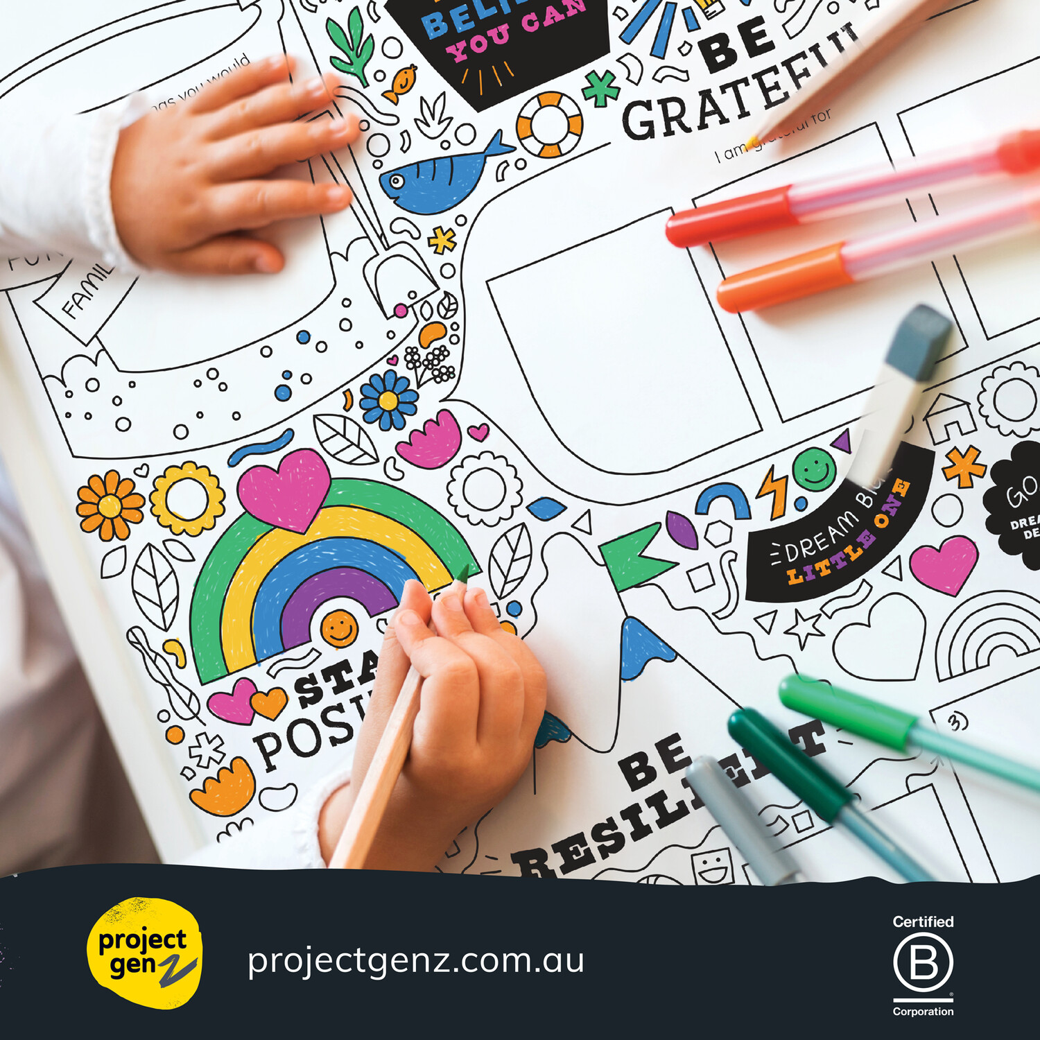 Supersize growth mindset colouring in worksheet Age 5- 12
