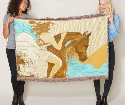 Woven Cotton Horse Throw Blankets