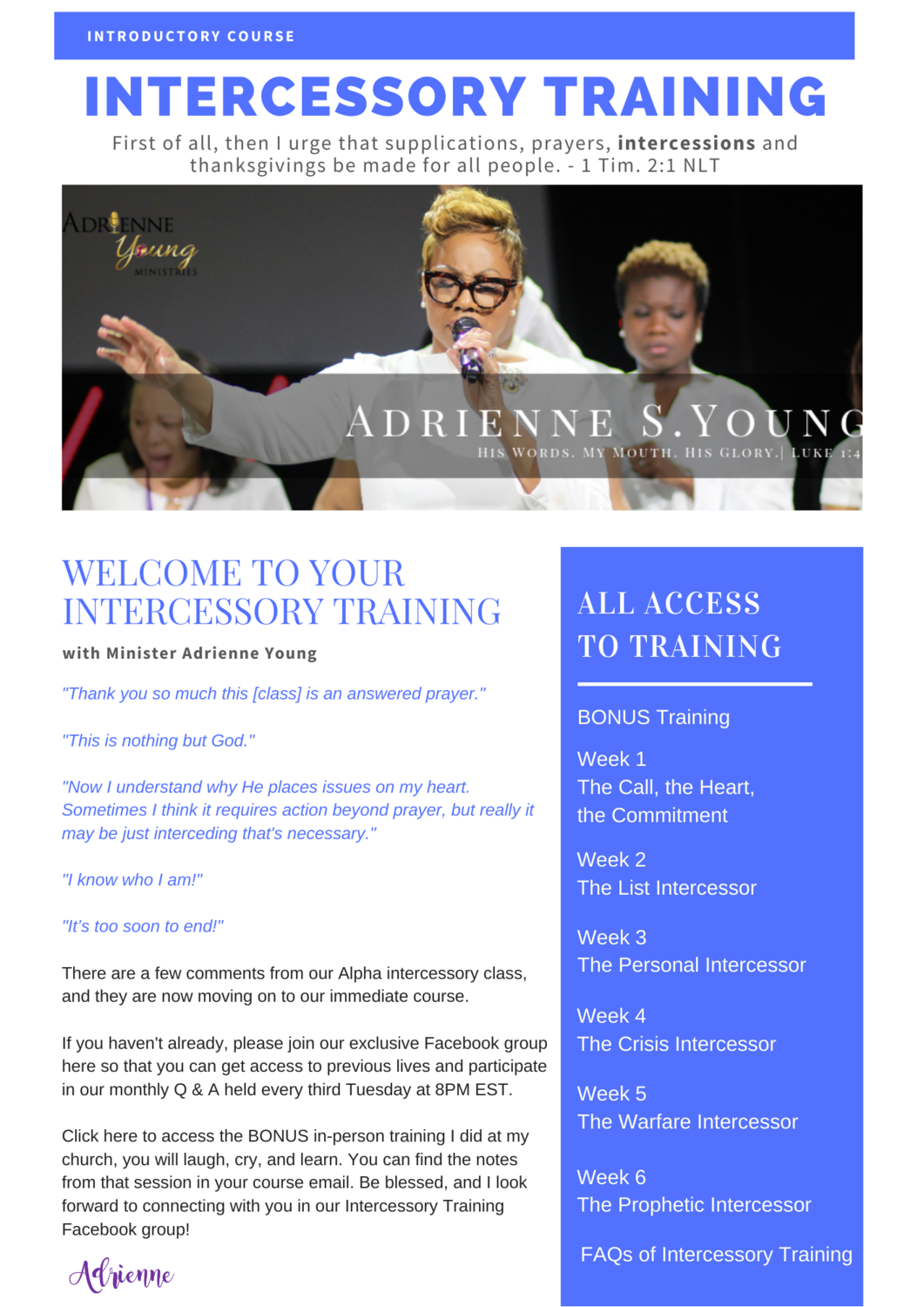Introduction to Intercessory Training 6-Week Online Course