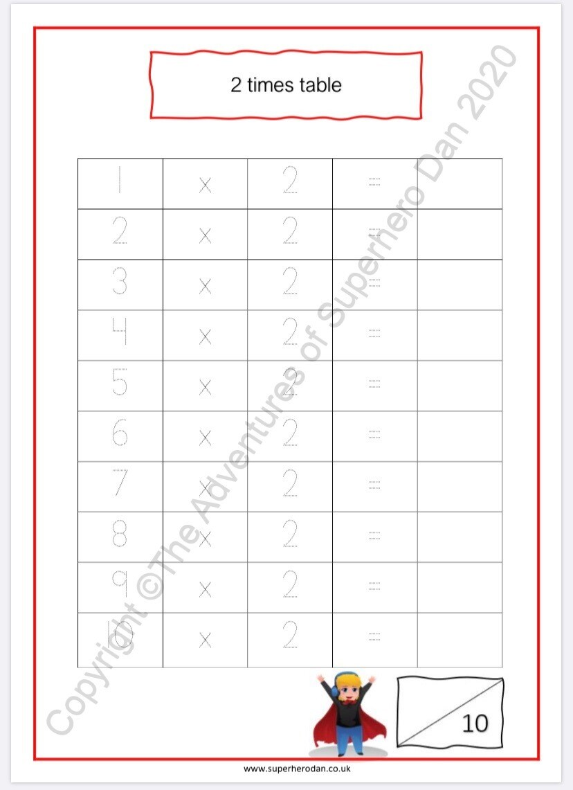 Times Table SHEET
