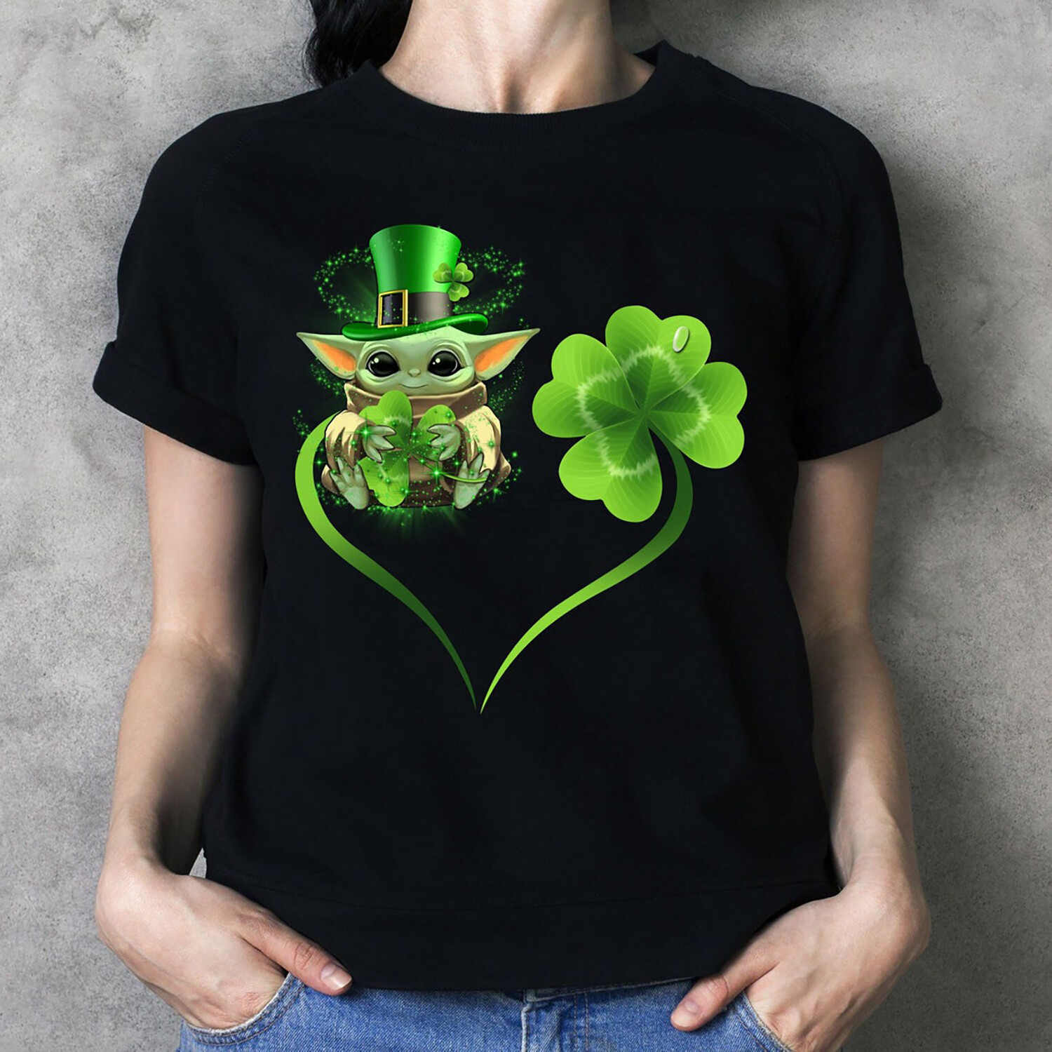 Baby Yoda Leprechauns hug Shamrock Peace Sign Flowery Heart St Patrick Day The Mandalorian with death Star Wars Movie T-Shirt