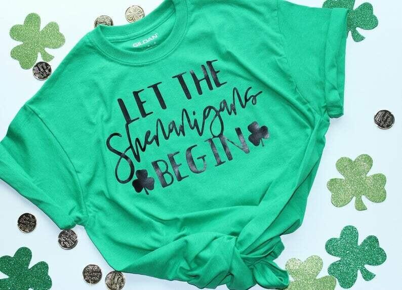 Let the Shenanigans Begin St. Patrick's Day Womens Shirt | Womens Shamrock St Paddy's T-shirt | Pub Crawl Shirt | Bar Crawl Shirt