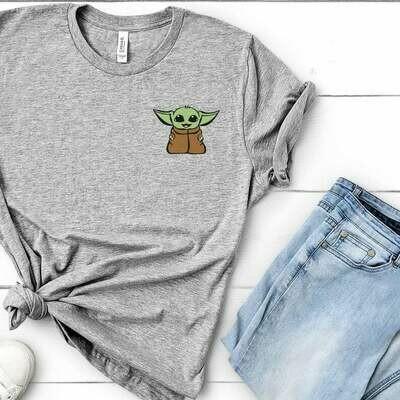 Baby Yoda Shirt, Baby Yoda Pocket, Baby Yoda Cute, Valentines shirt, Mandalorian Shirt, Valentines Gift, Minimal Disney