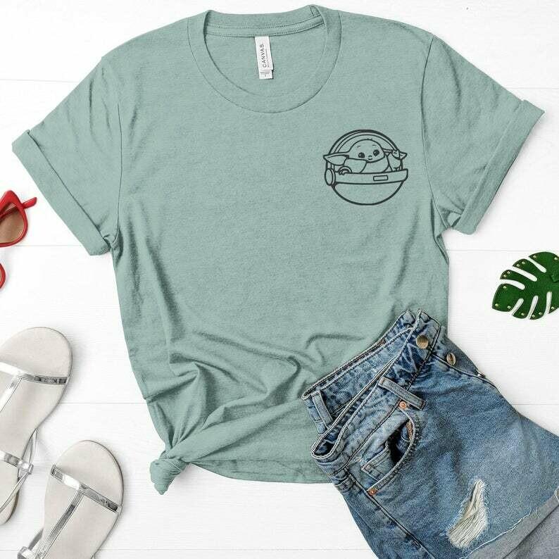 Baby Yoda Shirt, Mandalorian Shirt, Baby Yoda Pocket, The Mandalorian