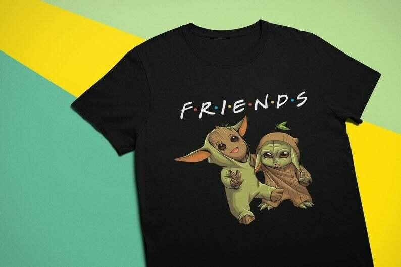 Super Cute Baby Yoda and Baby Groot Shirt, Baby Yoda Tee, Cute Star wars shirt , Baby Yoda Gift for Her, Baby Groot Unisex t-shirt