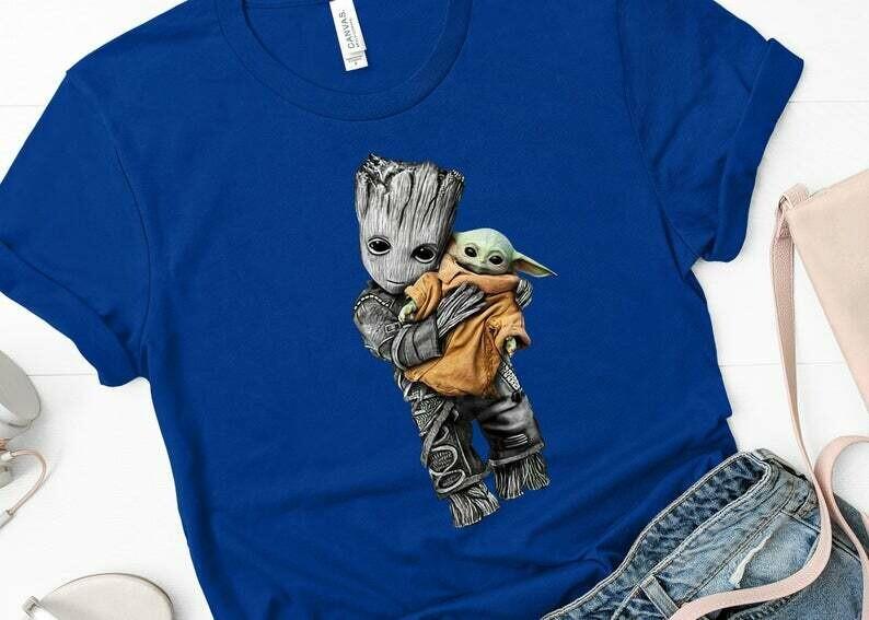 Chibi Fiends - Groot - Baby Yoda shirt, Star Wars Baby Yoda, Disney Baby Yoda Shirt, They see me Floatin, family matching shirts, disney