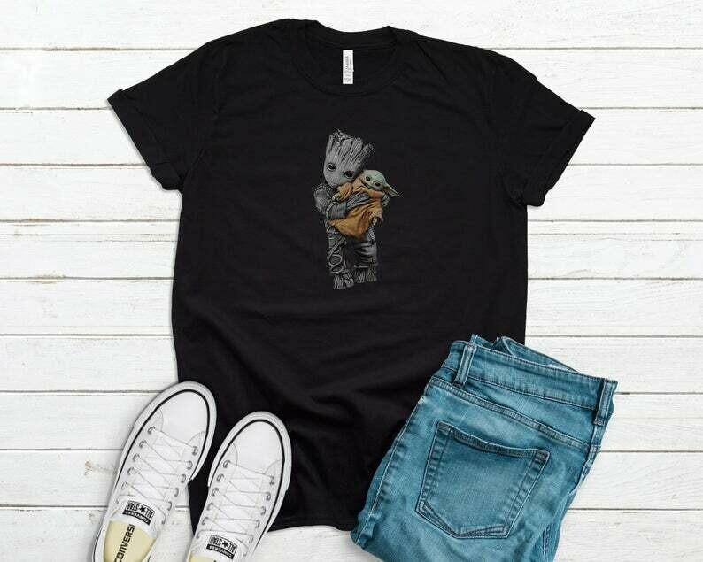 Baby Yoda and Baby Groot Mash Up - Mandalorian Inspired Fan Art - Star Wars - Unisex Jersey Short Sleeve Tee
