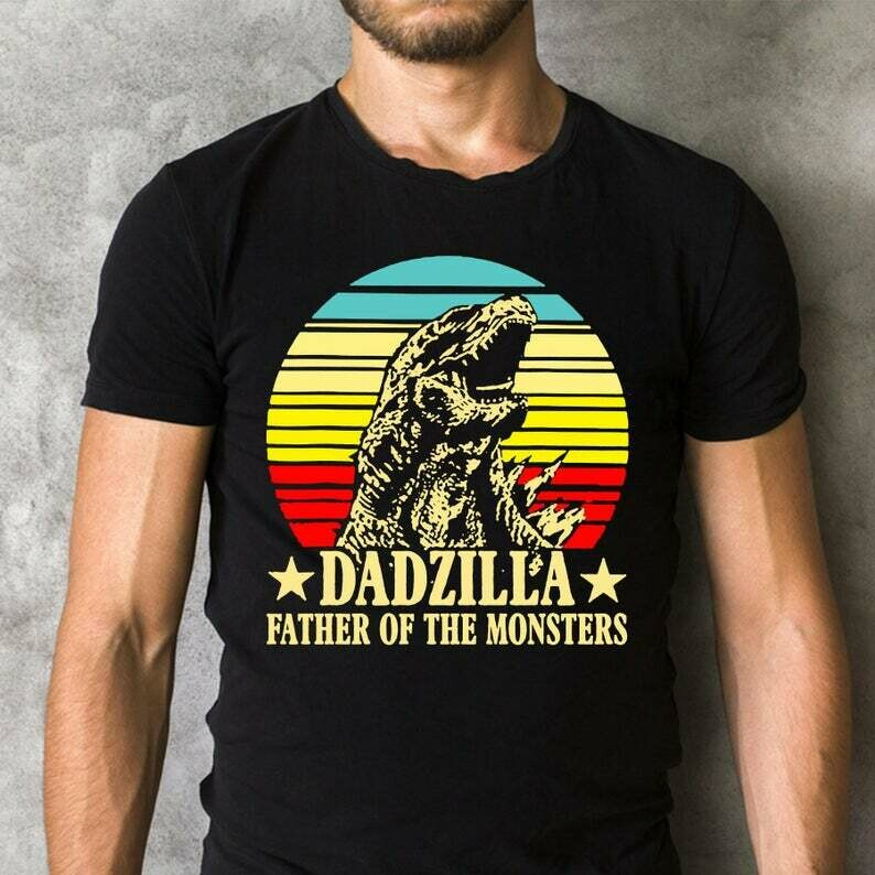 Dadzilla father of the monsters Dinosaur T rex Saurus Retro Vintage Sunset Funny Father's Day Shirt