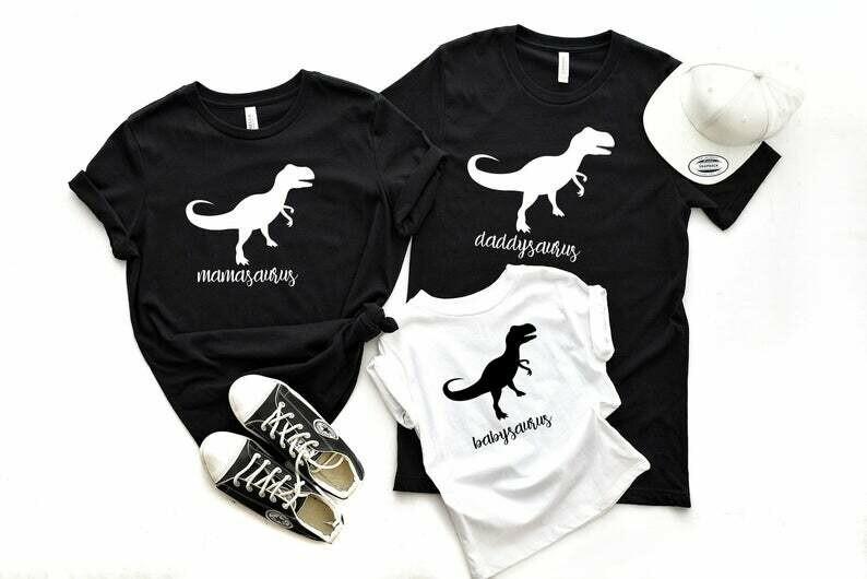 Dinosaur Family Shirts, Saurus Shirts, Family Matching T-shirts, Mommy Saurus, Daddy Saurus, Baby Saurus, Kid Dinosaur, Custom Dino Shirts